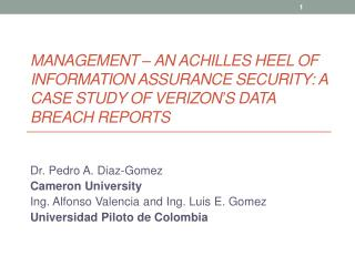 Management – An Achilles Heel of Information Assurance Security: A Case Study of Verizon's Data Breach Reports