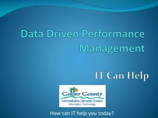 Data Driven Performance Management