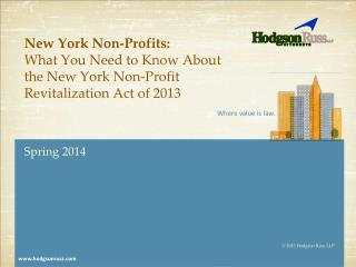 New York Non-Profits:   What You Need to Know About the New York Non-Profit Revitalization Act of 2013