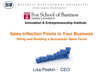 Sales Inflection Points in Your Business Hiring and Building a Successful Sales Force Presented by Lisa Peskin -  CEO