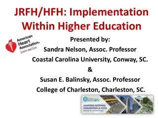 JRFH/HFH: Implementation Within Higher Education