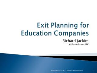 Exit Planning for  Education Companies