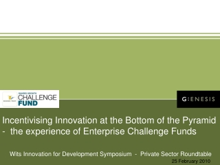 Incentivising  Innovation at the Bottom of the Pyramid  -  the experience of Enterprise Challenge Funds