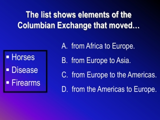 The list shows elements of the Columbian Exchange that moved…