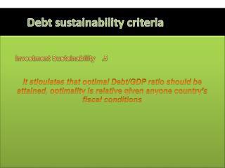 Debt sustainability criteria