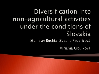 Diversification into non-agricultural activities under the conditions of  Slovakia