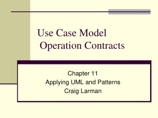 Use Case Model  Operation Contracts