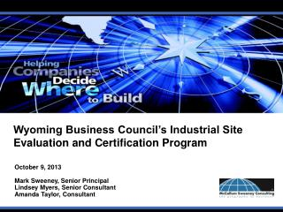 Wyoming Business Council's Industrial Site Evaluation and Certification Program