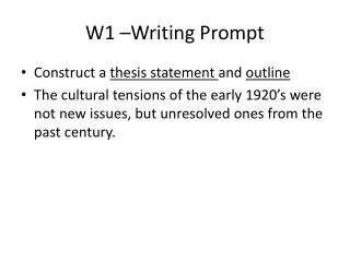 W1 –Writing Prompt