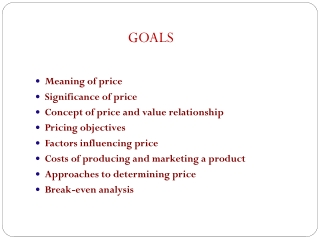 Meaning of price Significance of price Concept of price and value relationship Pricing objectives Factors influencing p