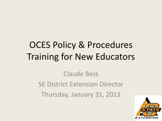 OCES Policy & Procedures Training for New Educators