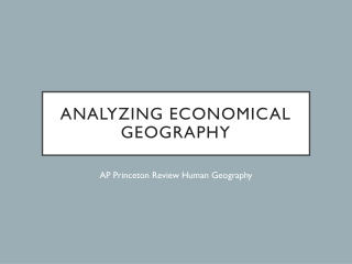 Analyzing Economical Geography
