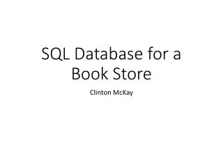 SQL Database for a  Book Store