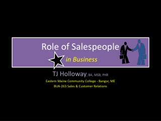 Role of Salespeople in Business