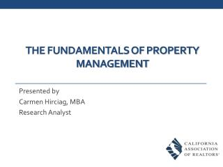 THE FUNDAMENTALS OF property MANAGEMENT