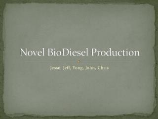 Novel  BioDiesel  Production