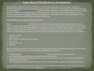 blackberry developmentr go hand in hand in current world