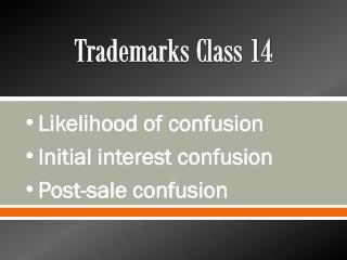 Trademarks Class 14