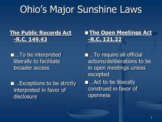 Ohio�s Major Sunshine Laws