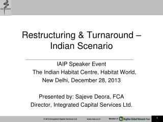 Restructuring & Turnaround – Indian  Scenario
