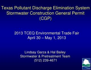 Texas Pollutant Discharge Elimination System Stormwater Construction General Permit (CGP)