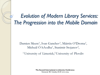 Evolution of Modern Library Services:  The Progression into the Mobile Domain