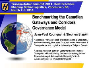 Benchmarking the Canadian Gateways and Corridors Governance Model