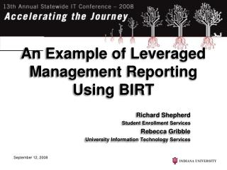 An Example of Leveraged Management Reporting Using BIRT