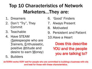 Top 10 Characteristics of Network Marketers…They are: