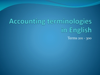 Accounting terminologies in English