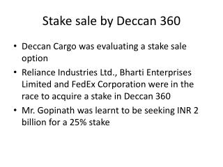Stake sale by Deccan 360