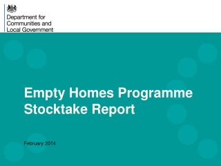 Empty Homes Programme Stocktake Report