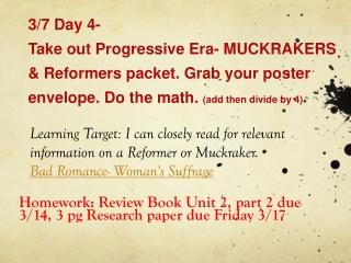 MUCKRAKERS & Reformers
