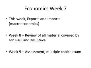 Economics Week  7
