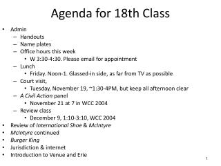 Agenda for  18th  Class