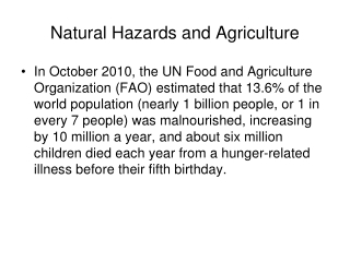 Natural Hazards and Agriculture