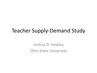 Teacher Supply-Demand Study