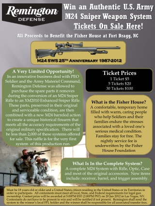 Win an Authentic U.S. Army  M24 Sniper Weapon System Tickets On Sale Here !