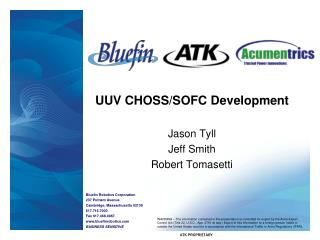 UUV CHOSS/SOFC Development