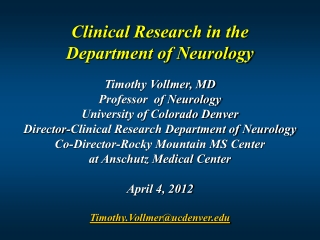 Clinical  Research in  the  Department  of  Neurology