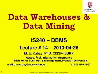 Data Warehouses & Data Mining