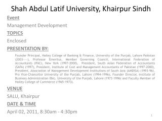 Shah Abdul  Latif  University,  Khairpur Sindh