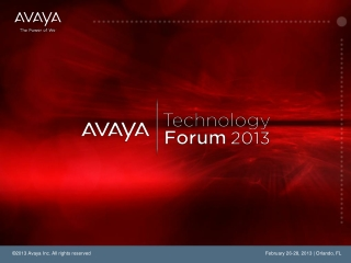 The Avaya Collaborative Cloud The Synergy of SaaS & Network Virtualization