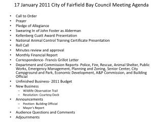 17 January 2011 City of Fairfield Bay Council Meeting Agenda