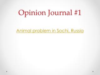 Opinion Journal #1