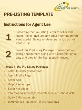 Pre-listing template