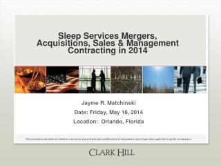 Sleep Services Mergers, Acquisitions, Sales & Management Contracting in 2014