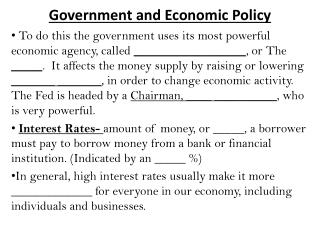 Government and Economic Policy