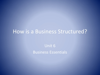 How is a Business Structured?