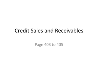 Credit Sales and Receivables